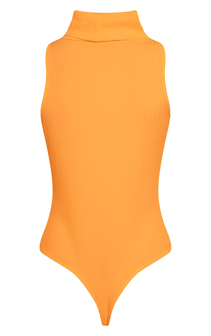 Lydia Bright Orange Ribbed Turtle Neck Bodysuit 7
