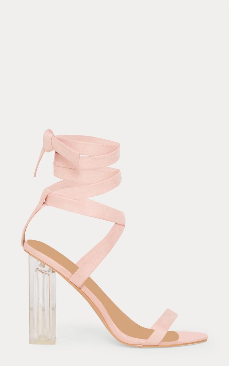 Nude Leg Tie Clear Block Heel Sandals 3