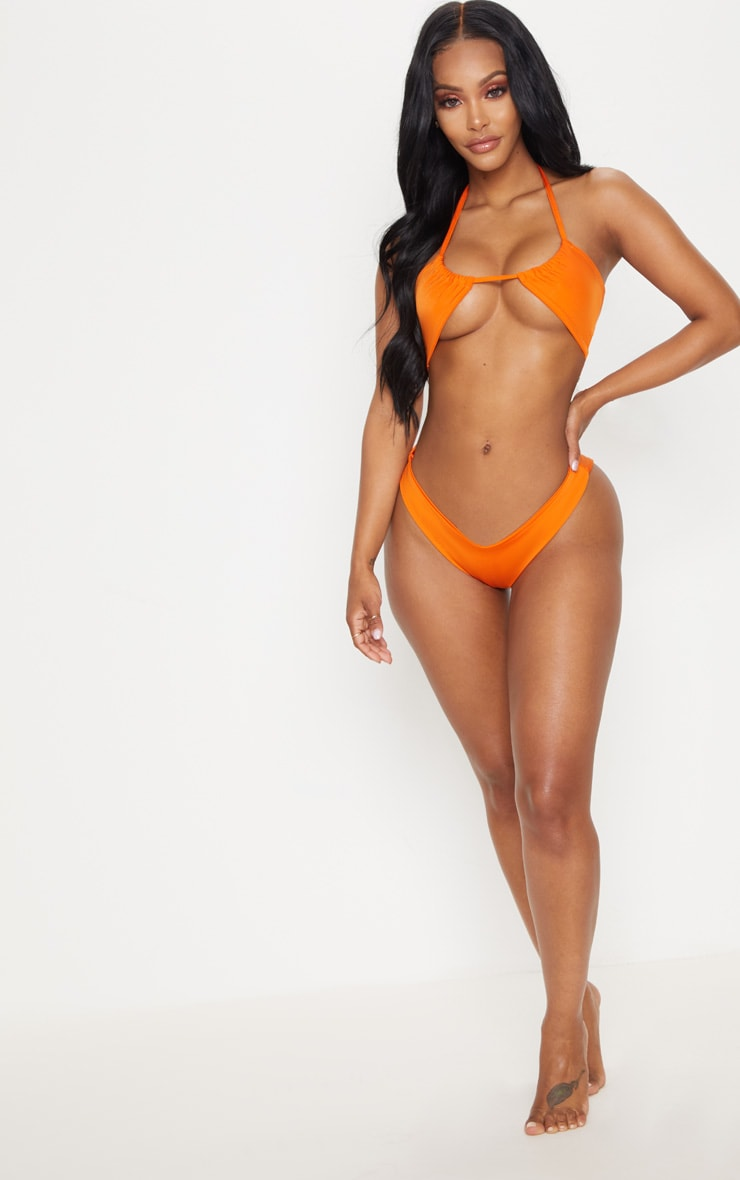 Shape Orange Cut Out Tie Front Bikini Top 4