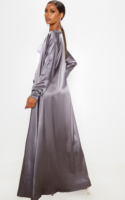 Charcoal Satin Kimono