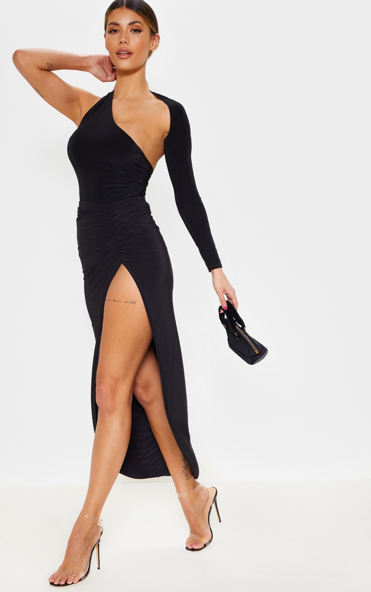 Black One Shoulder Asymmetric Bodysuit 5