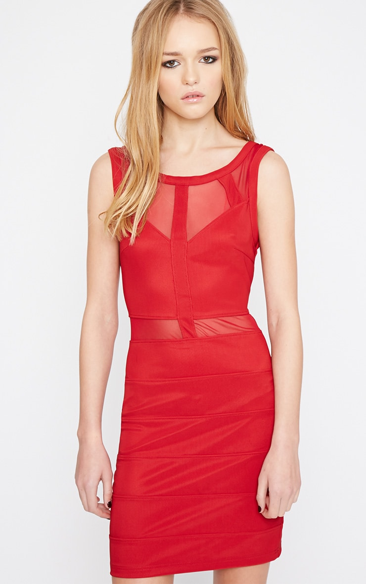 Karin Burgundy Mesh Detail Bandage Dress 4