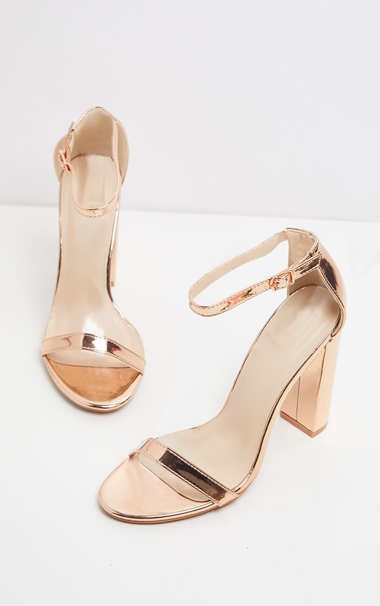 May Rose Gold Block Heeled Sandals 3