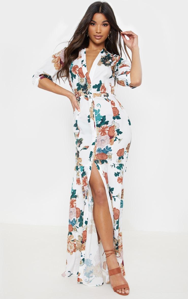 White Floral Button Front Split Maxi Dress 1