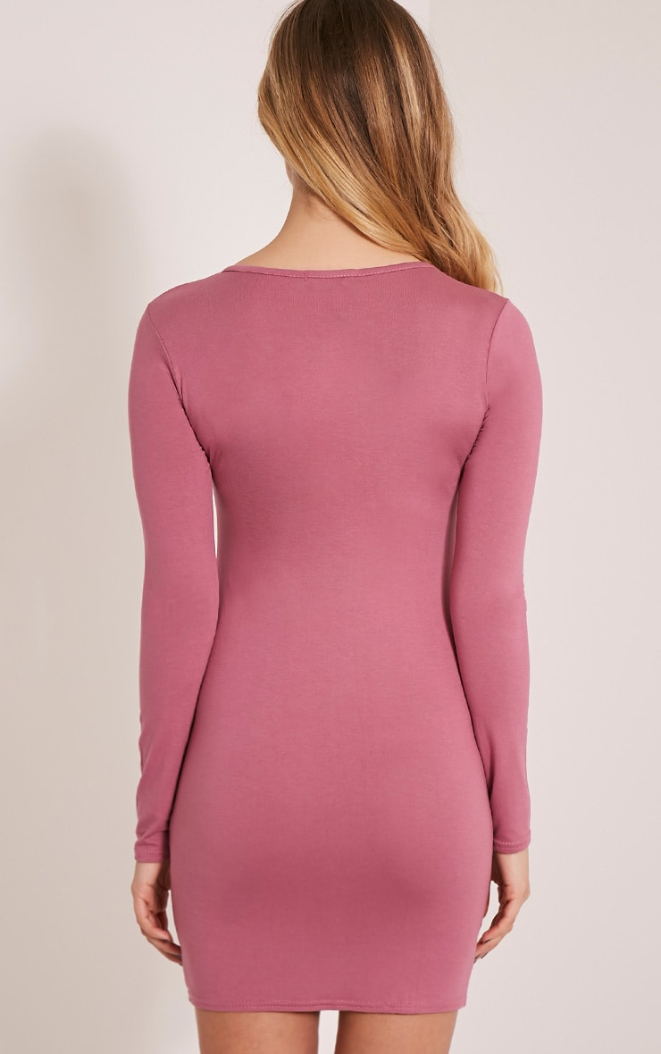 Basic Rose Long Sleeve Jersey Mini Dress 2