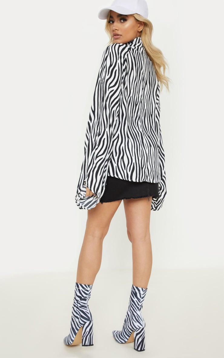 Petite Zebra Print High Neck Ruched Sleeve Blouse  2
