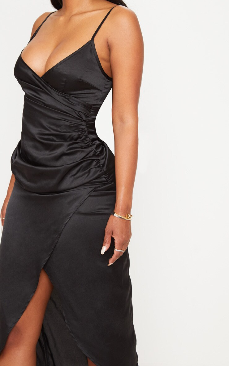 9a8a93eb0b6 Shape Black Satin Wrap Detail Midaxi Dress image 5