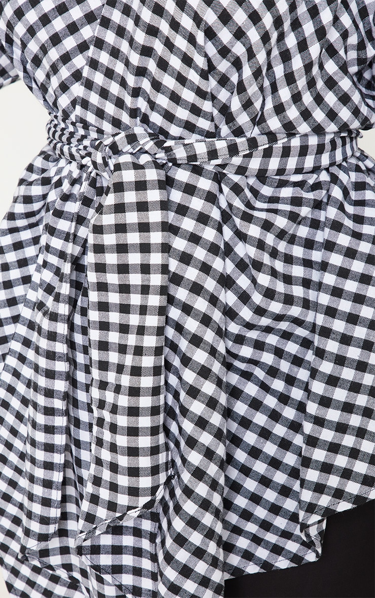Plus Gingham Tie Waist Blouse 4