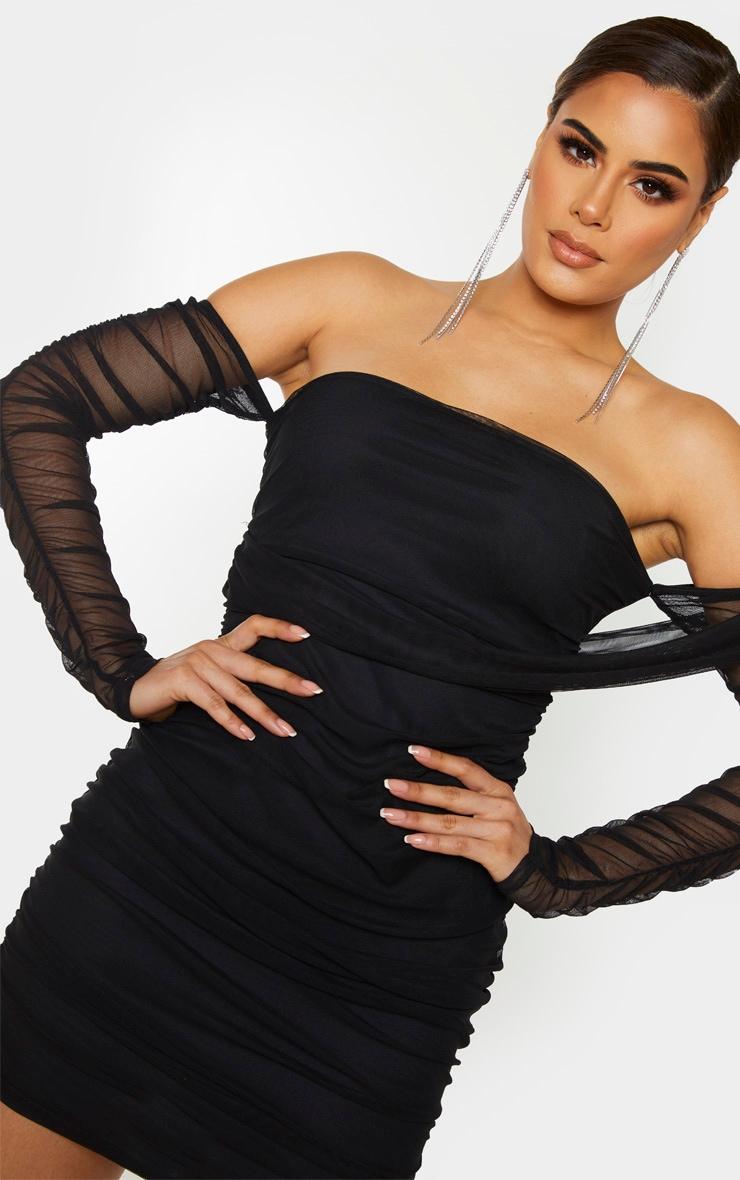 Tall Black Mesh Wrap Bodycon Dress 5