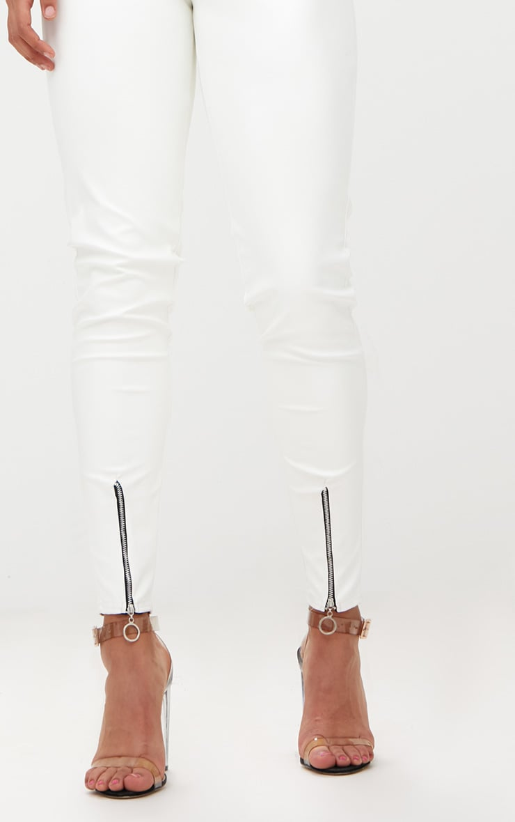 White Faux Leather Zip Front Skinny Trousers 5
