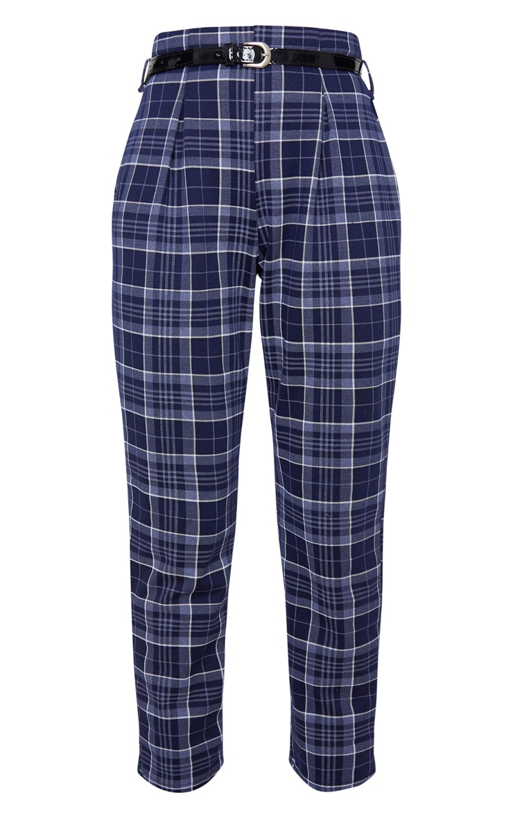 Navy Check Belted Skinny Pants 3