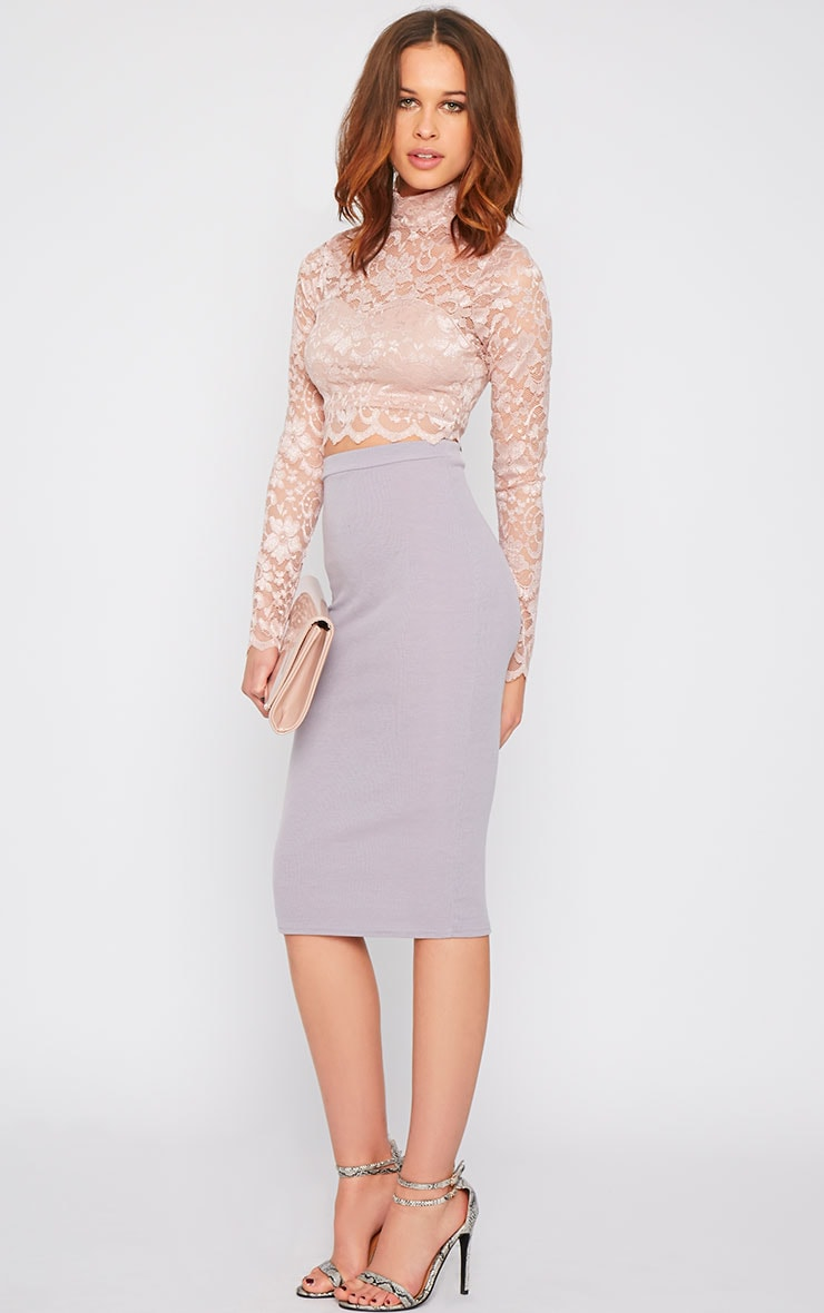 Rachel Pink Lace Turtle Neck Crop Top  8