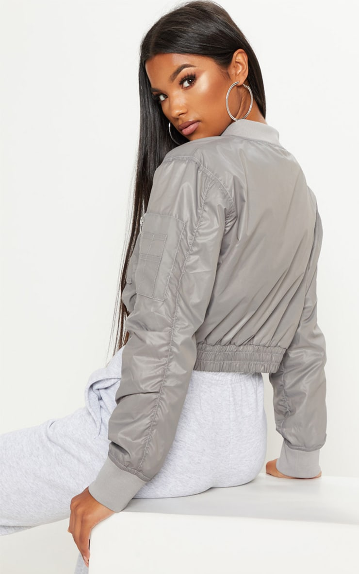 Grey Cropped Pocket Detail Bomber Jacket  2