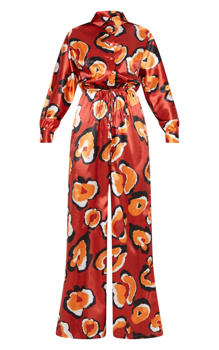 Burnt Orange Satin Printed Tie Waist Wide Leg Jumpsuit 3