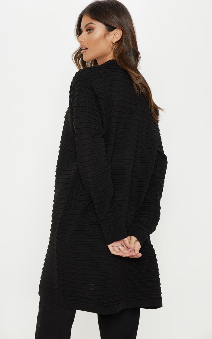 Black Chunky Ribbed Knitted  Cardigan  2