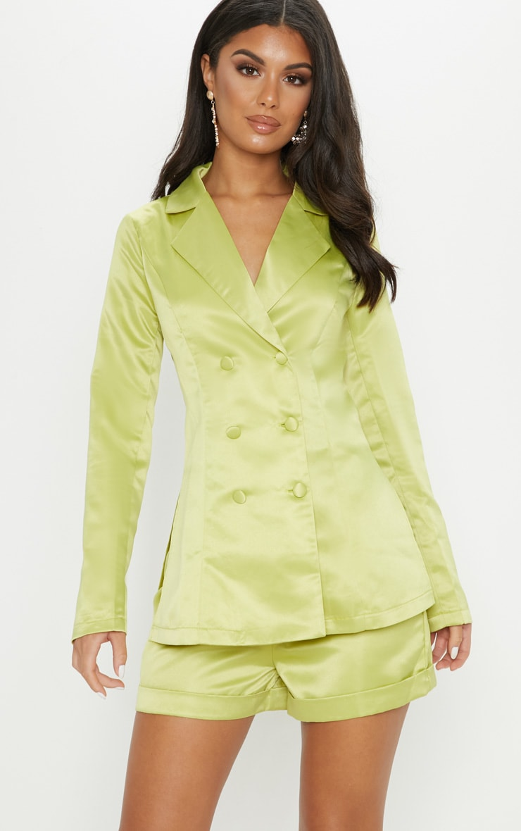Lime Double Breasted Satin Jacket