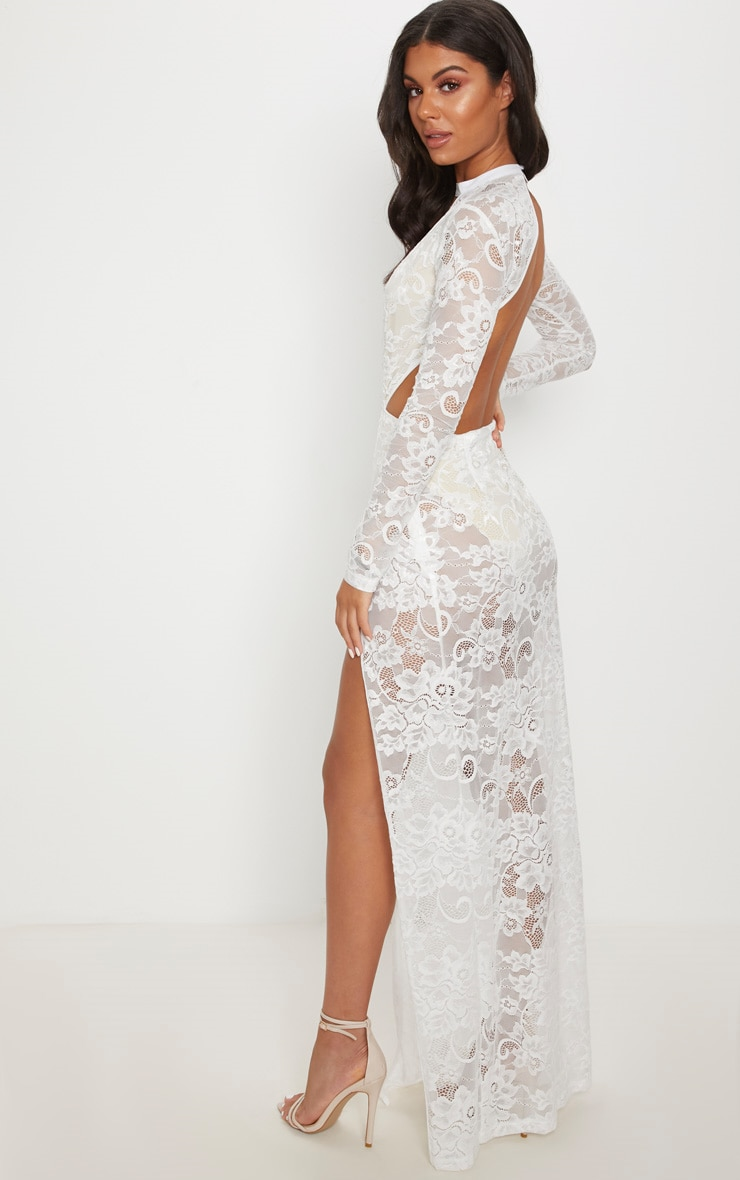 White Lace Plunge Backless Maxi Dress 2