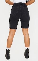 Washed Black Asymmetric Waist Longline Denim Shorts 3