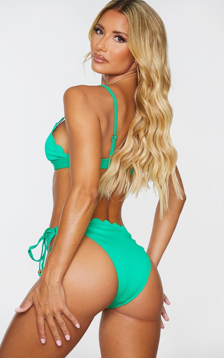 Green Ribbed Scalloped Triangle Bikini Top 2