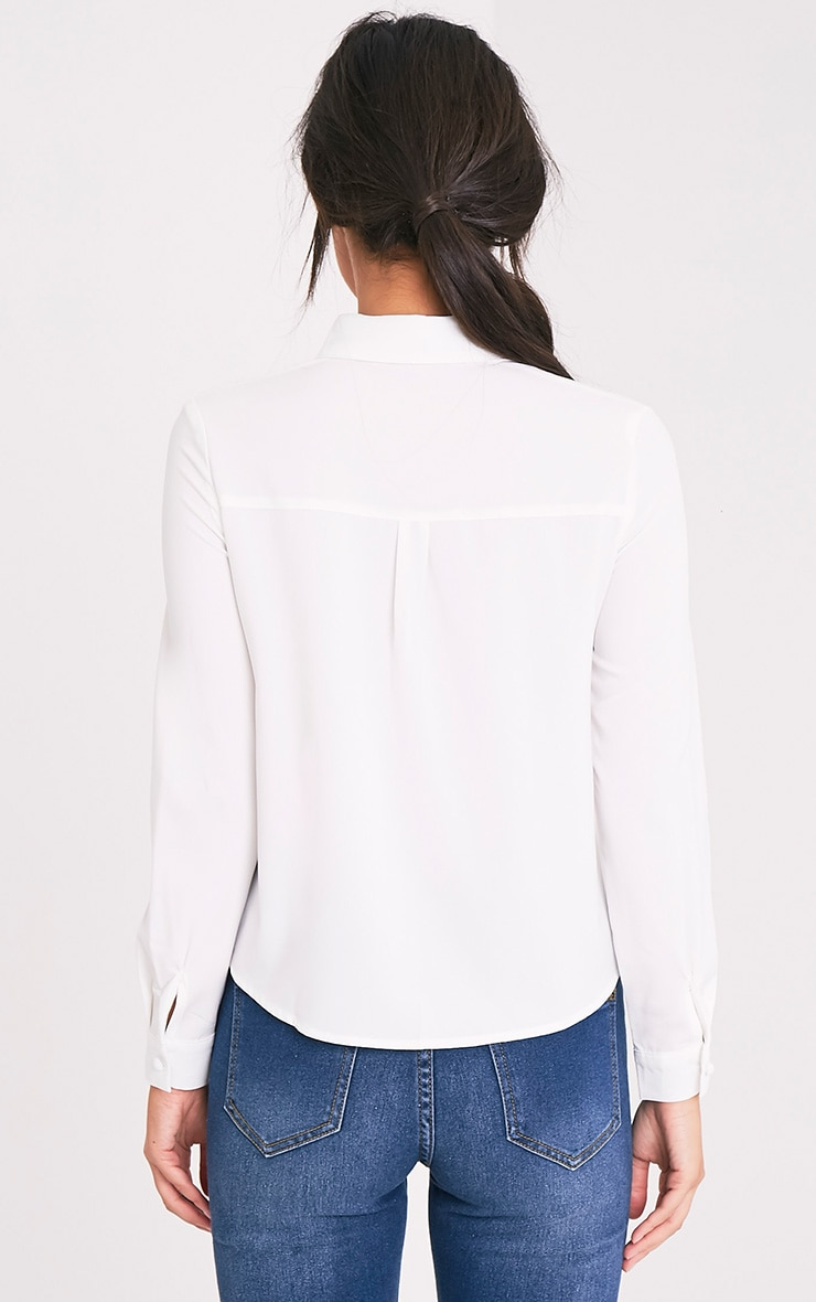 Loulou Cream Crop Long Sleeve Shirt 2