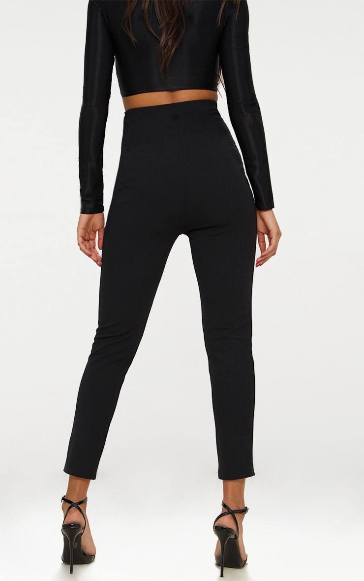 Black High Waisted Pleat Front Detail Trouser 3