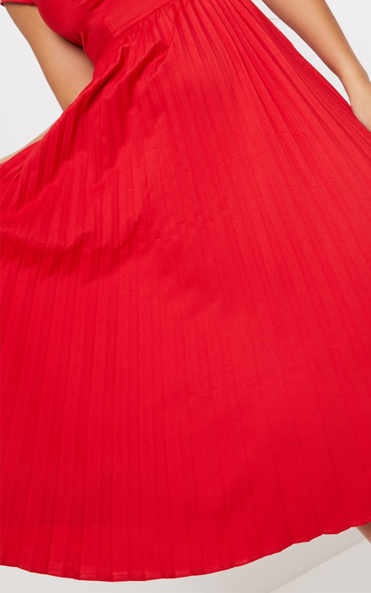 Red Cap Sleeve Pleated Midi Skater Dress 5