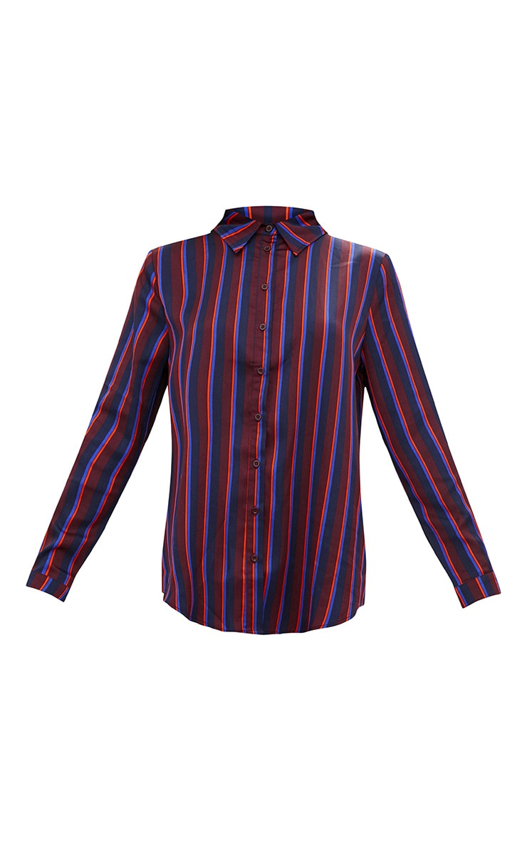 Navy Satin Stripe Shirt 3
