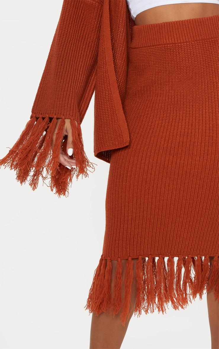 Rust Tassel Hem Knitted Midi Skirt  5