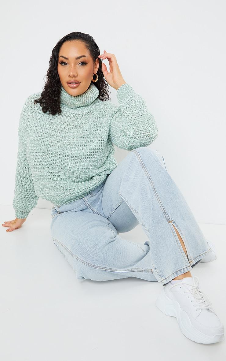 Plus Sage Green Fisherman Knit Roll Neck Sweater 3