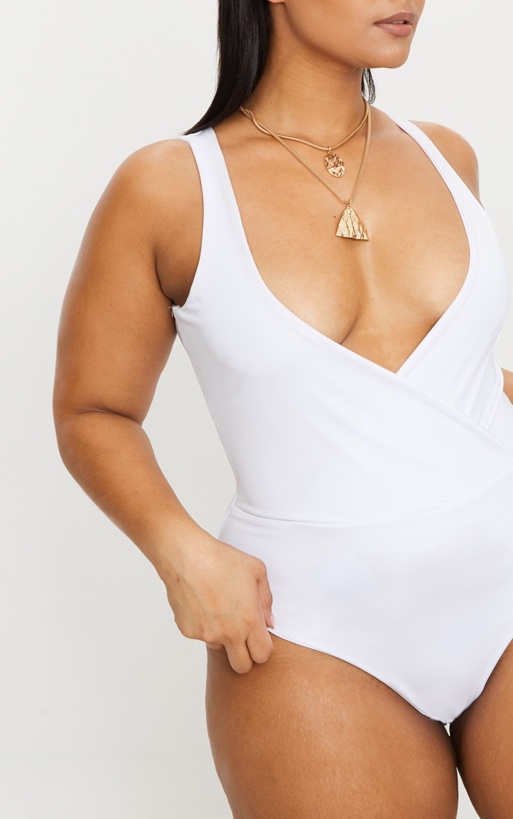 Plus White Slinky Wrap Detail Swimsuit 6