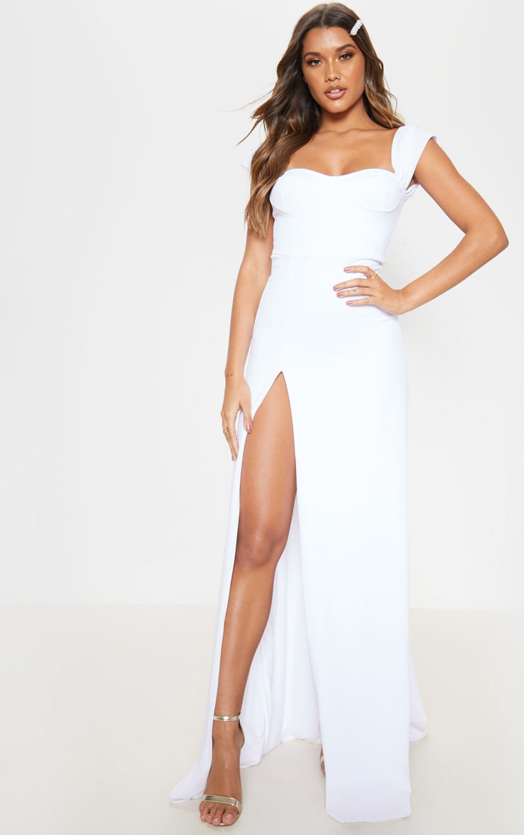White Cup Detail Maxi Dress 1