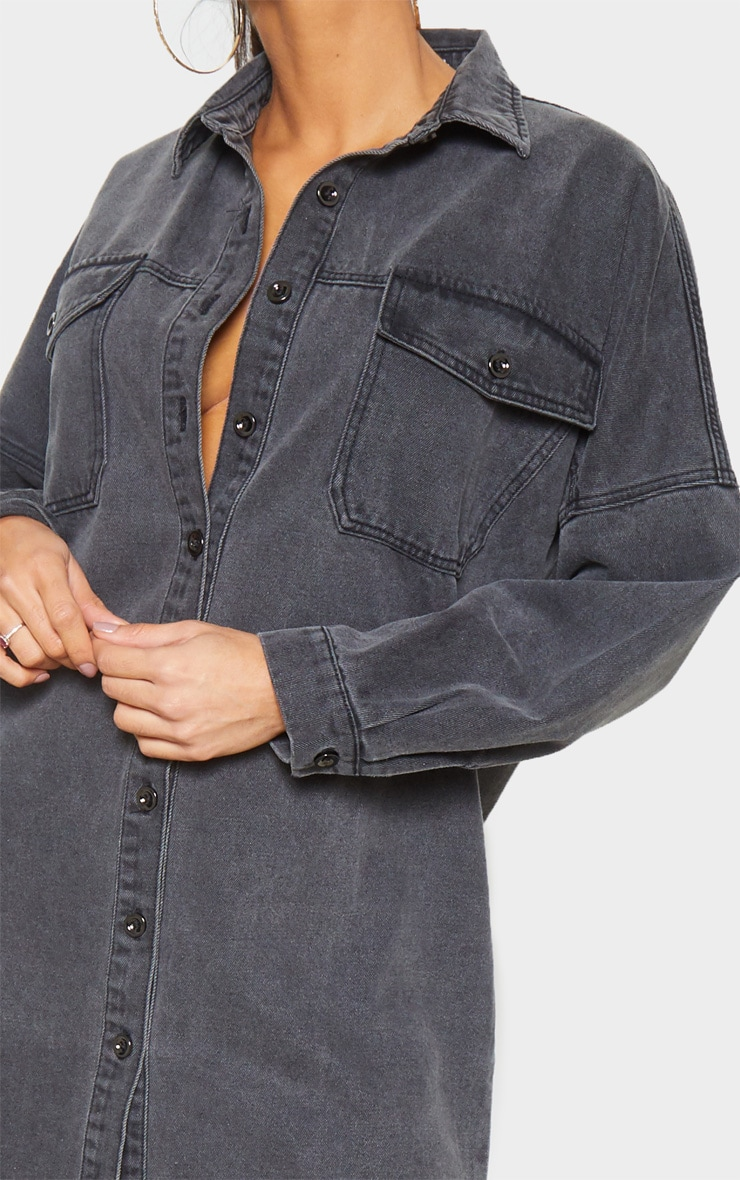 Washed Black Longline Oversized Denim Shirt 5