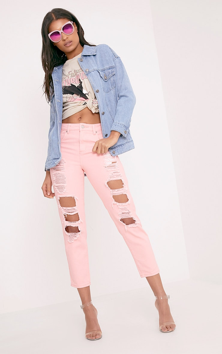 Pink Extreme Shred Mom Jean 1