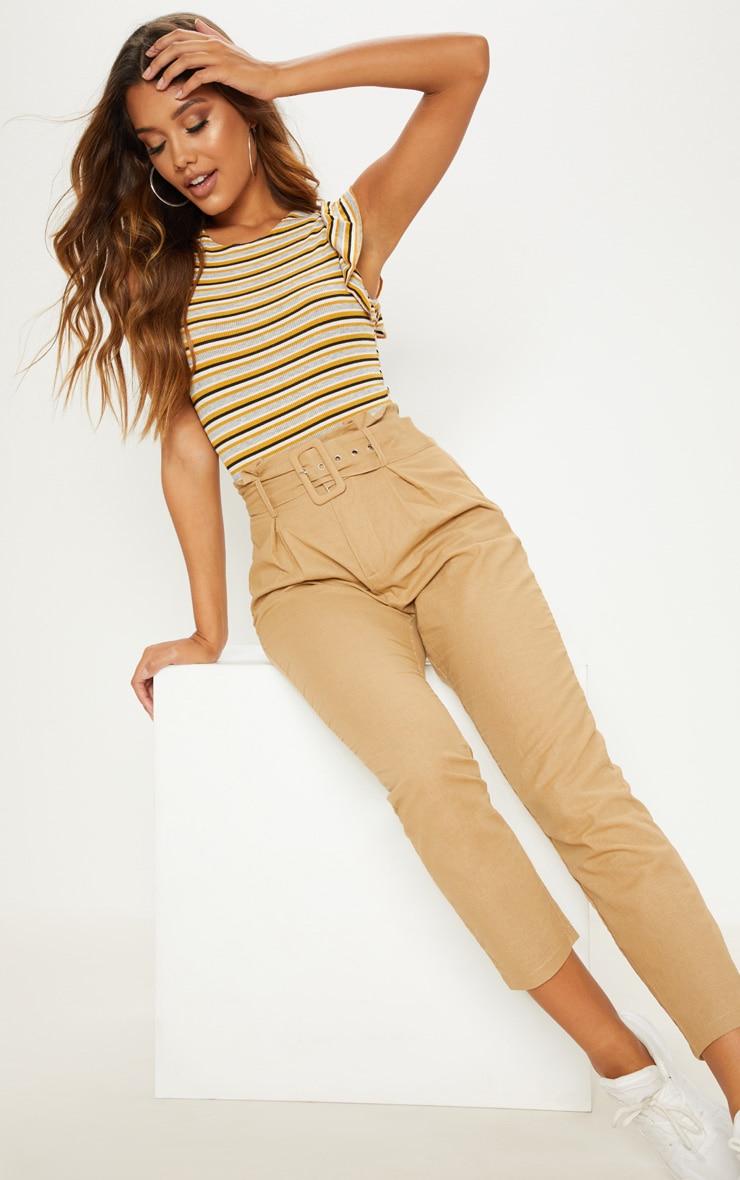 Mustard Sleeveless Stripe Frill Sleeve Bodysuit 5