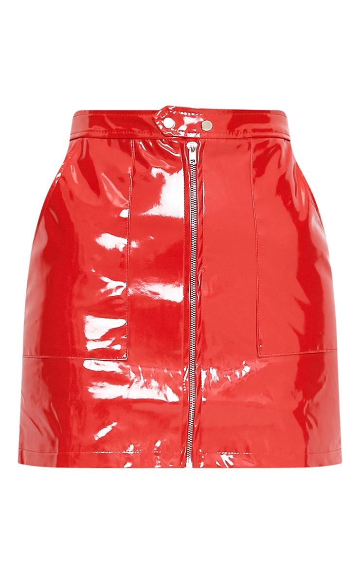 Elinor Red Zip Front Vinyl Mini Skirt 4