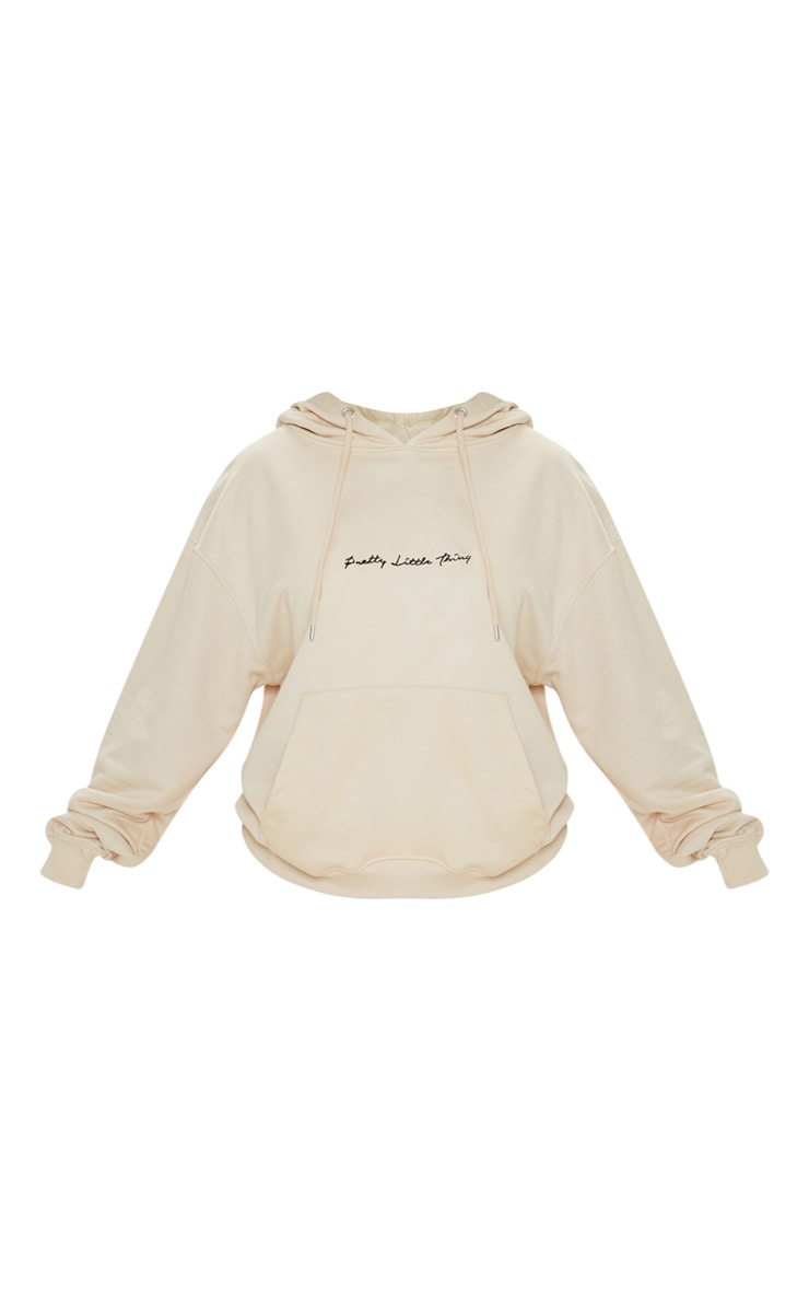 PRETTYLITTLETHING Cream Embroidered Oversized Hoodie 3