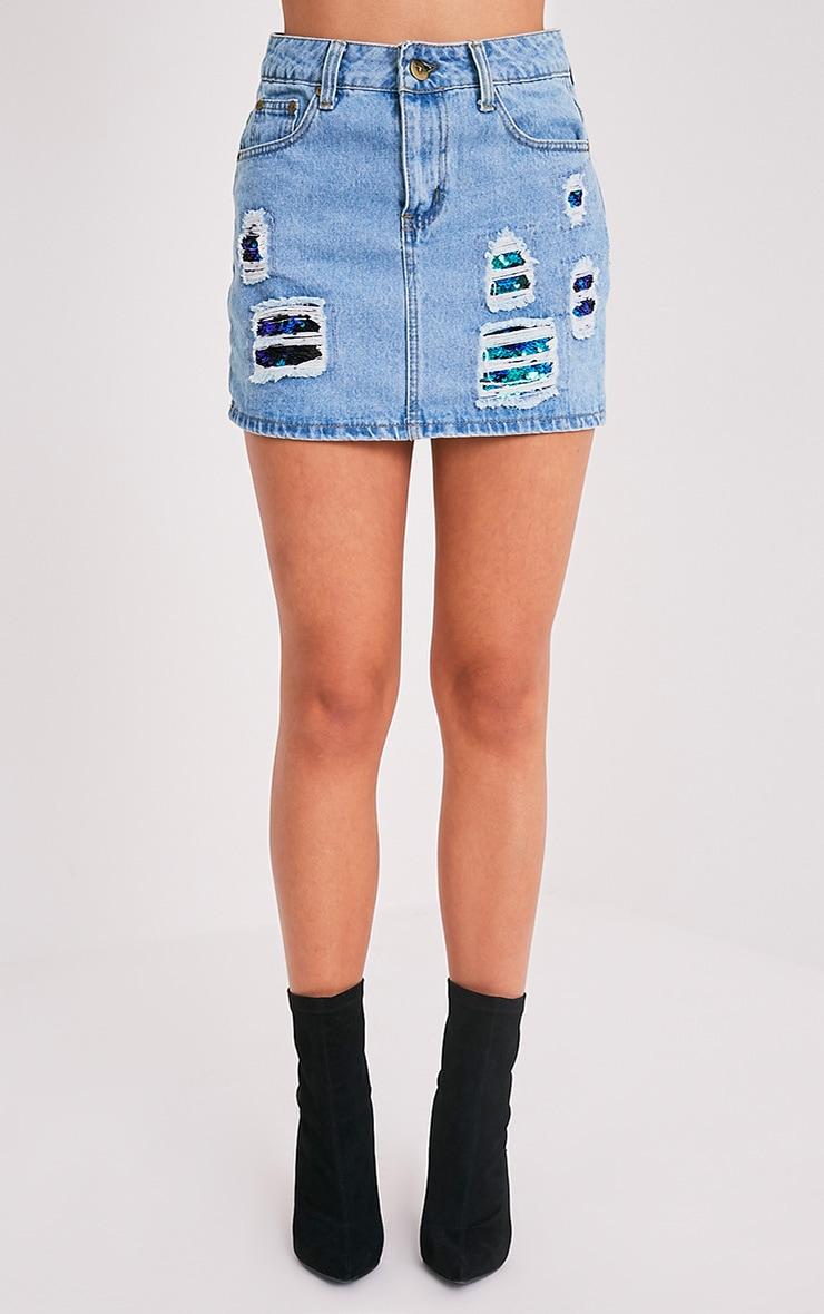 Ari Sequin Distress Mini Skirt 2