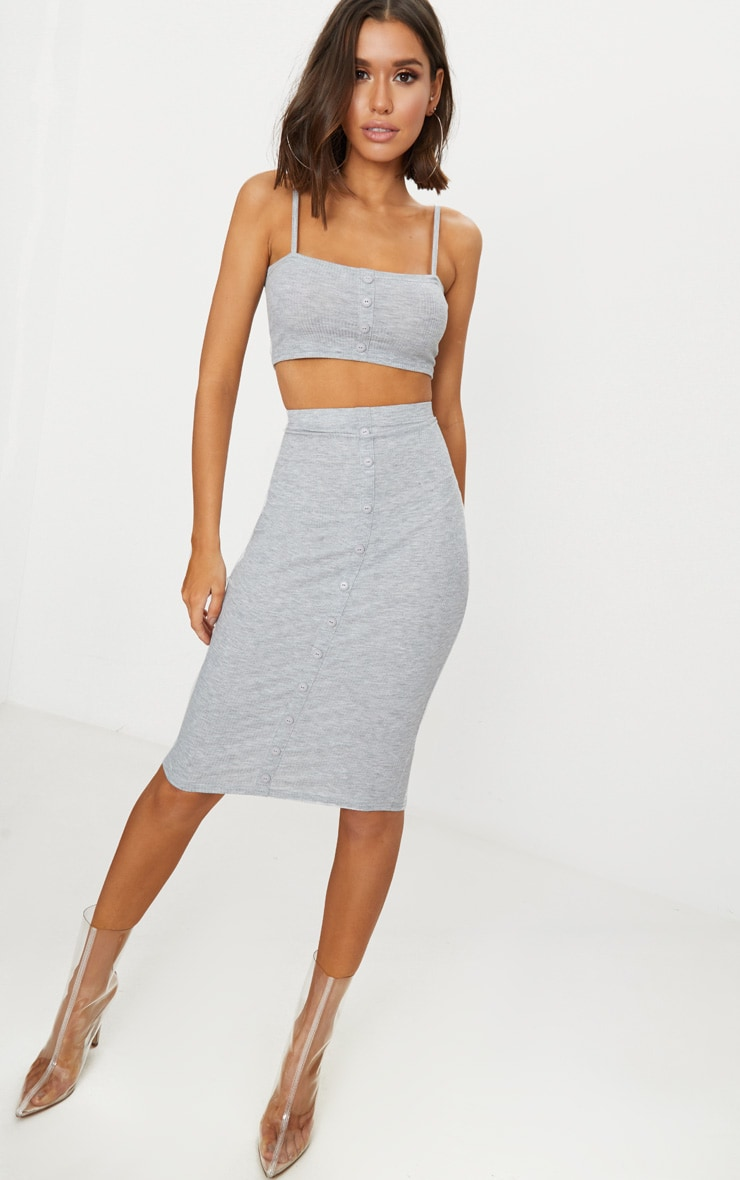Grey Marl Rib Square Neck Button Detail Crop Top 4
