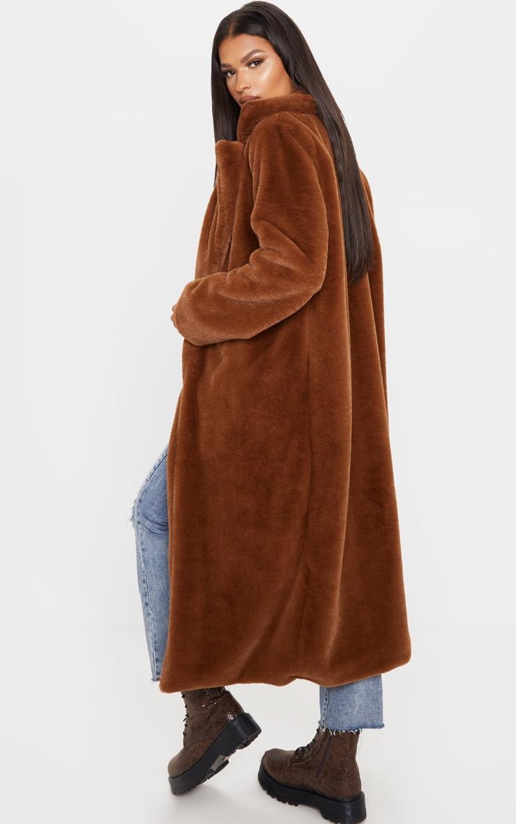 Dark Brown Maxi Faux Fur Coat 2