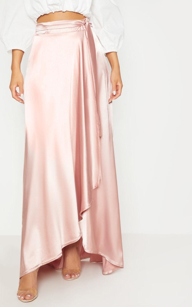 Blush Satin Wrap Maxi Skirt 2