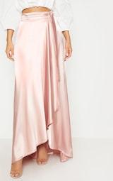 d5a2594307f Blush Satin Wrap Maxi Skirt image 2