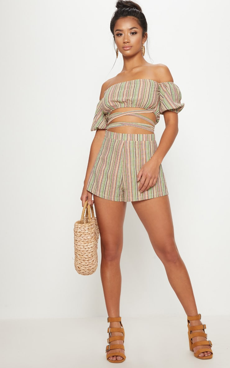 Petite line Striped Shorts 5