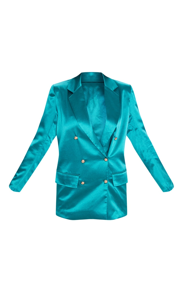Teal Satin Oversized Military Blazer 4