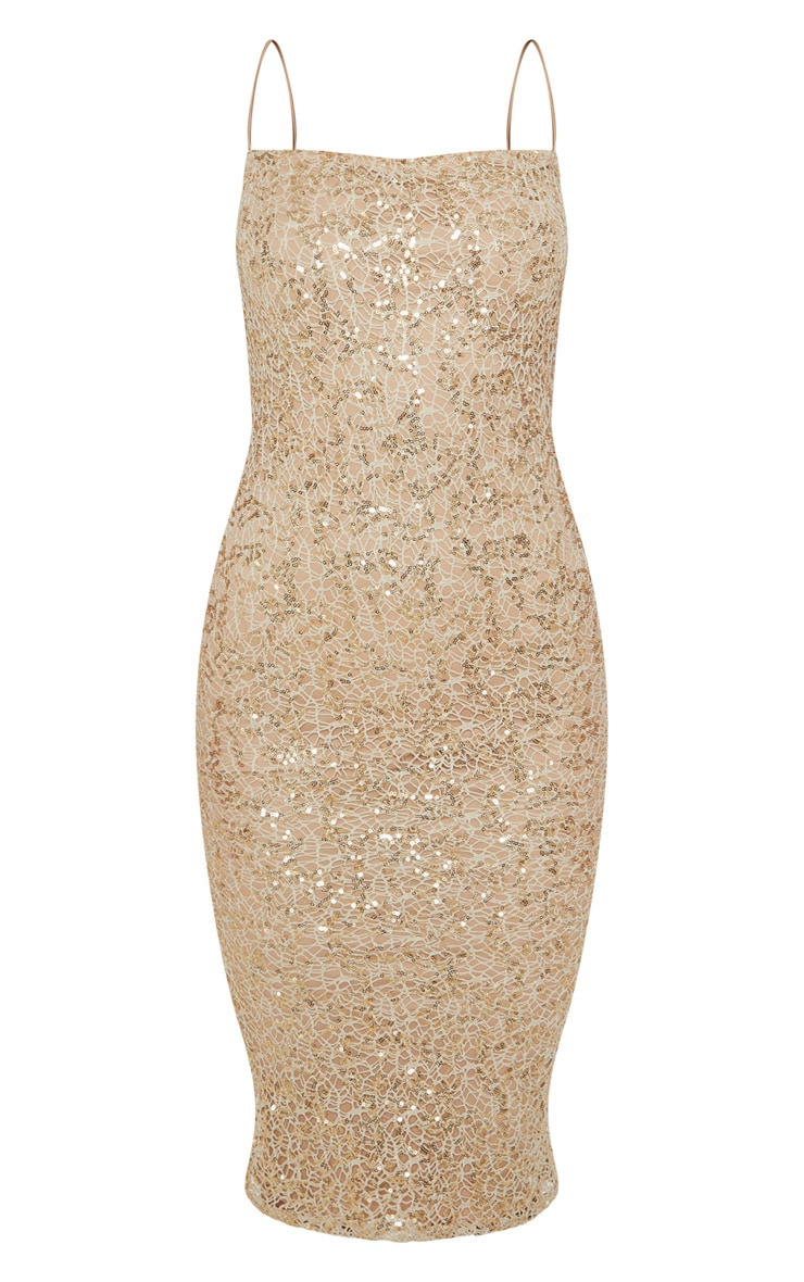 Gold Lace Sequin Square Neck Midi Dress 3
