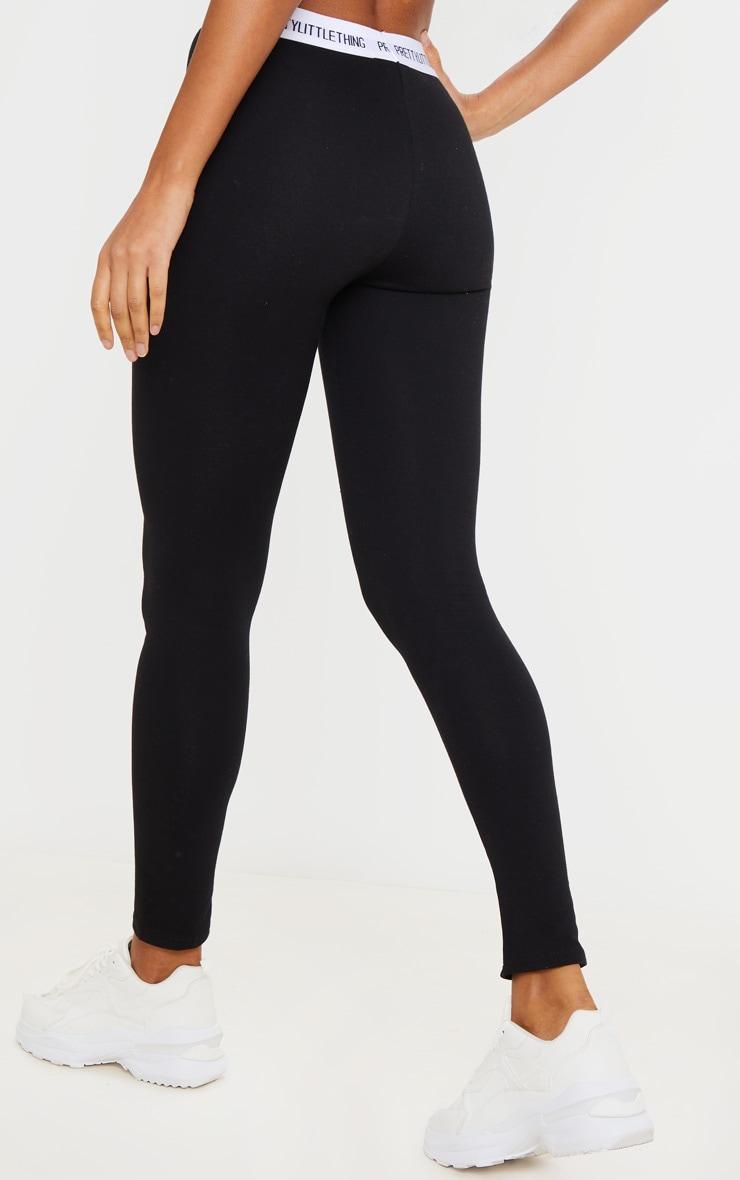 PRETTYLITTLETHING - Legging en coton noir à taille haute 3