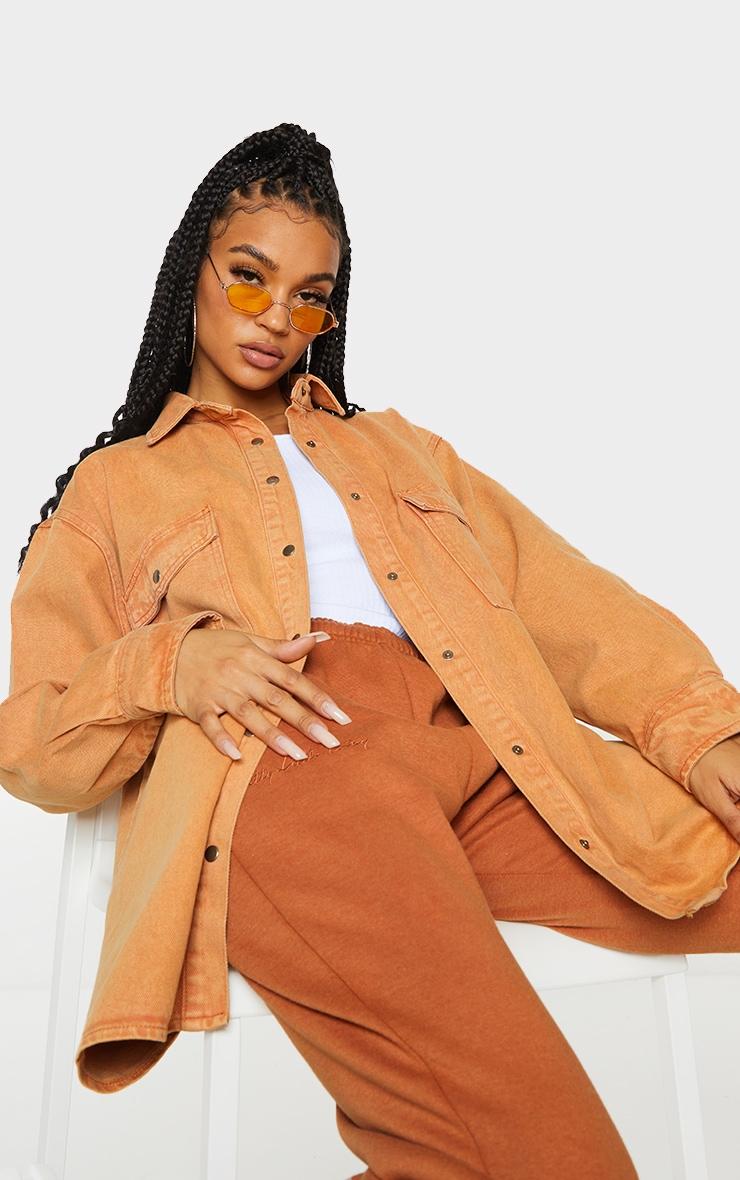 Rust Oversize Denim Boyfriend Shirt 3