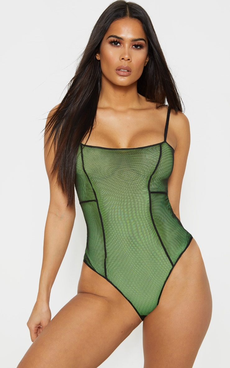 Black Contrast Sheer Mesh Strappy Bodysuit 2