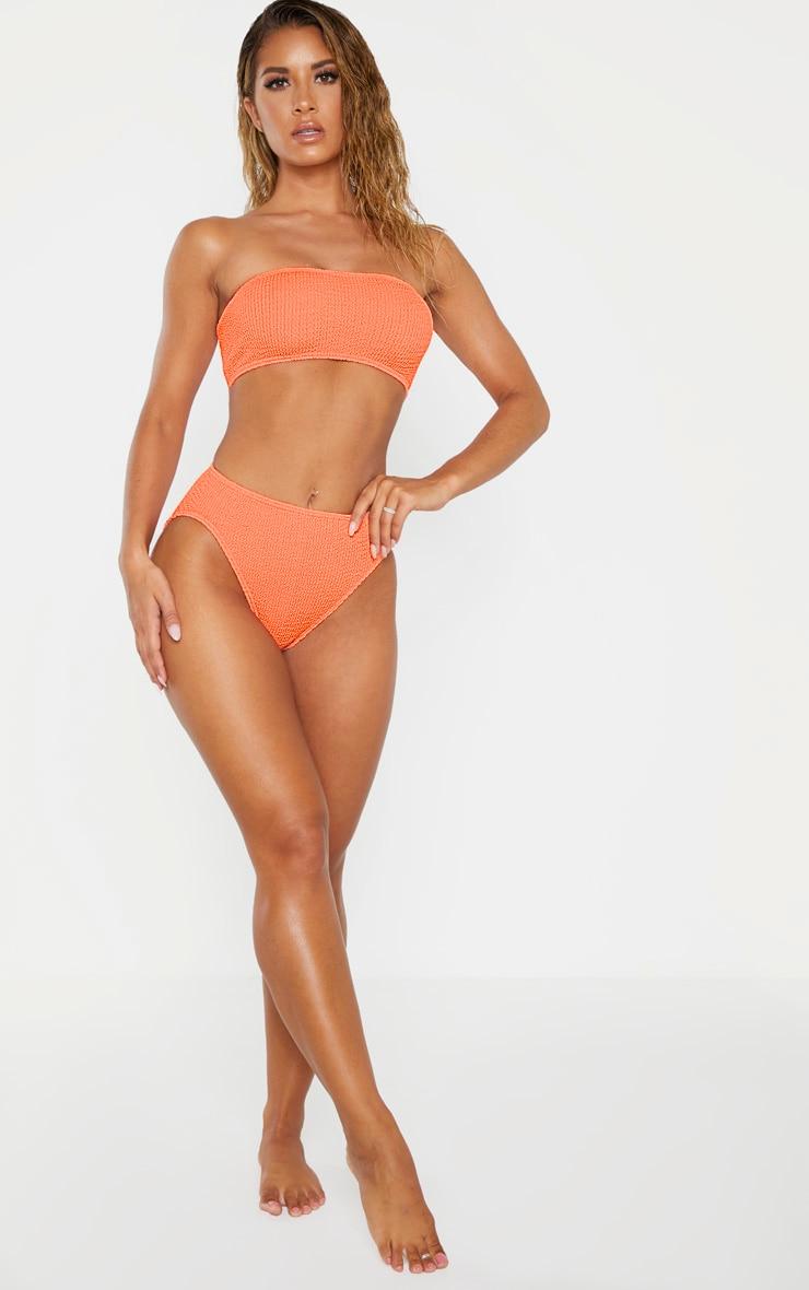 Coral Crinkle Bandeau Bikini Top 3