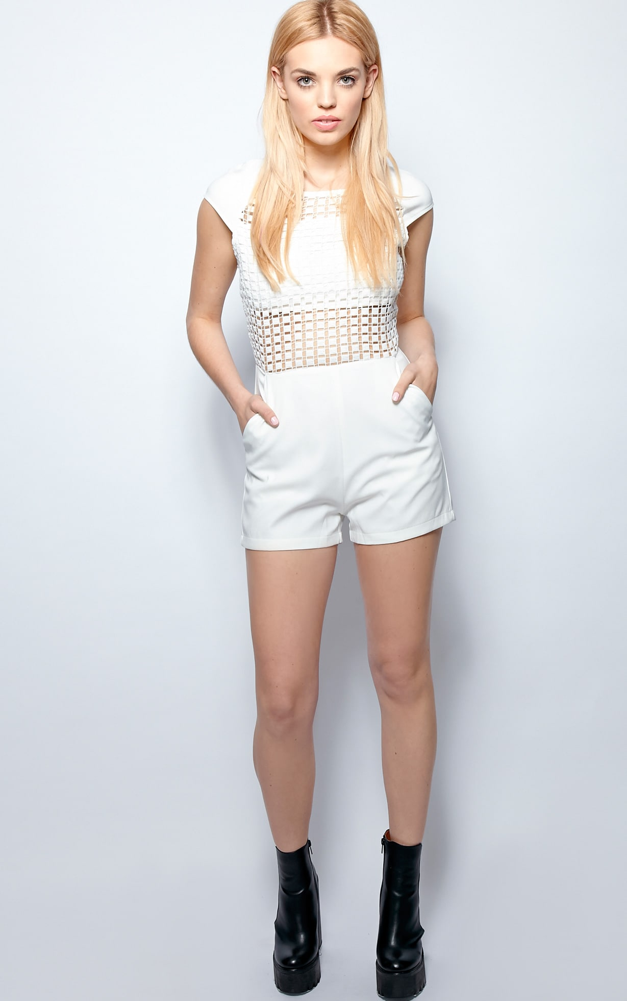 Skylar White Crochet Front Playsuit 3