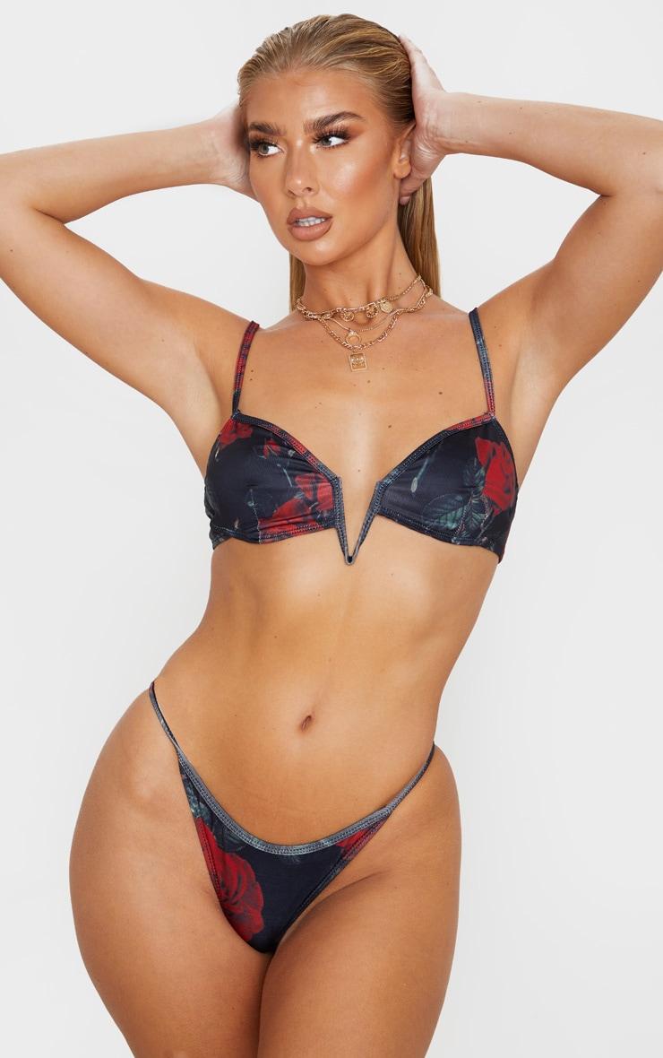 Rose Print Deep V Bikini Top 1